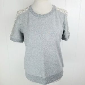 TROUVE Womens Gray Open Shoulder Crew Neck Top